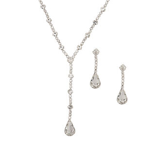 Silver Gl Rhinestone Teardrop Jewelry Set 2 Pack