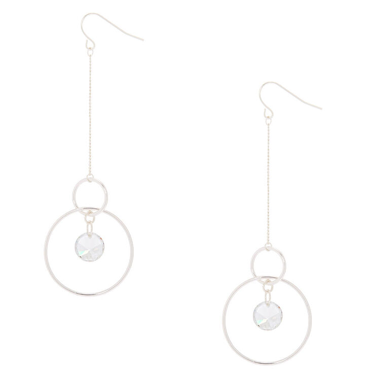 "Cubic Zirconia 3"" Circle Drop Earrings,"