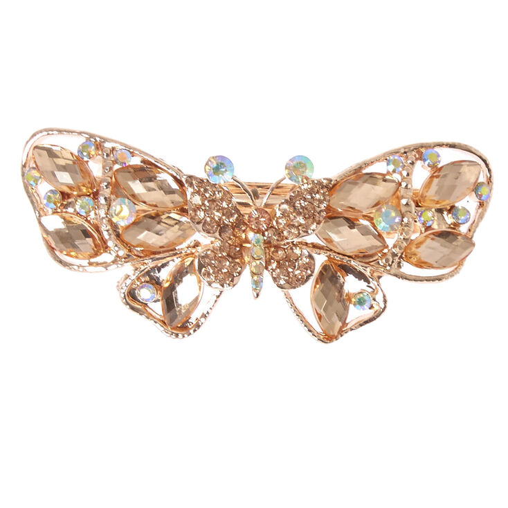 Rose Gold Crystal Butterfly Hair Barrette,