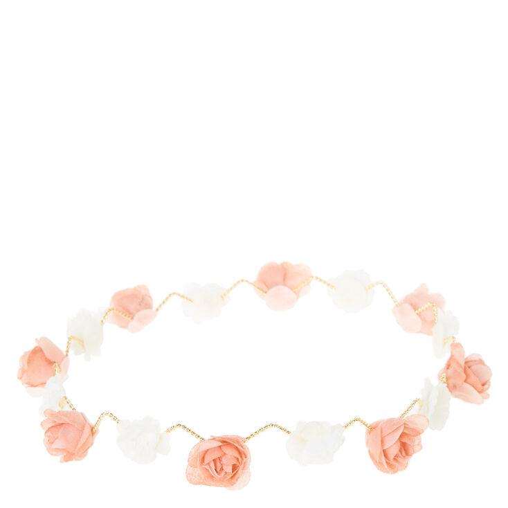 Peach & White Zig Zag Flower Crown,