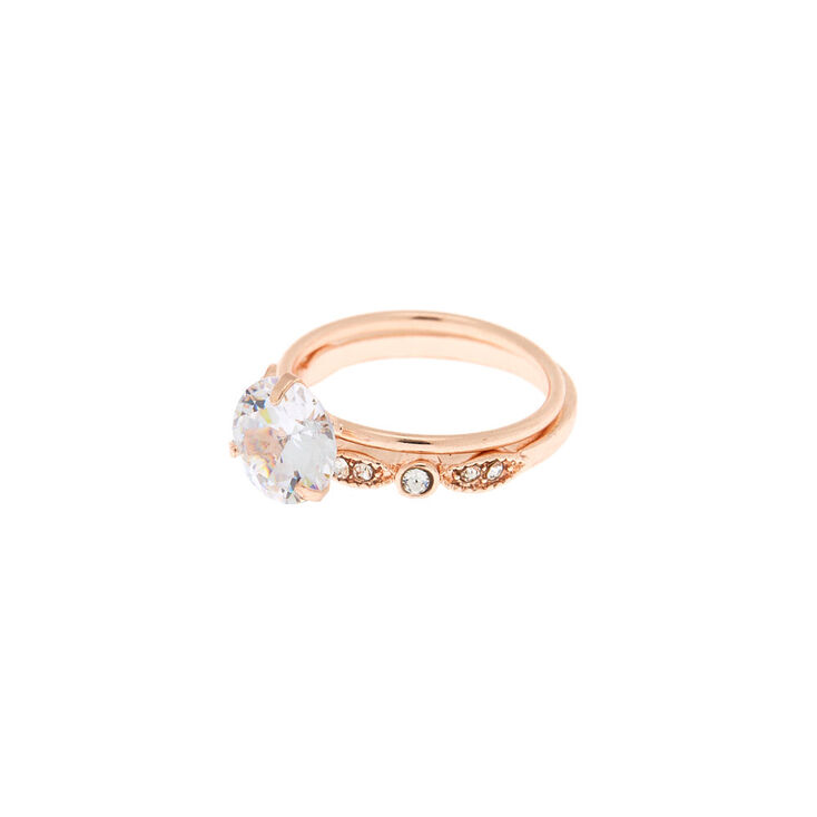 Rose Gold Cubic Zirconia Modern Rings - 2 Pack,
