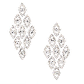 "Silver Glass Rhinestone 2.5"" Chandelier Earrings,"