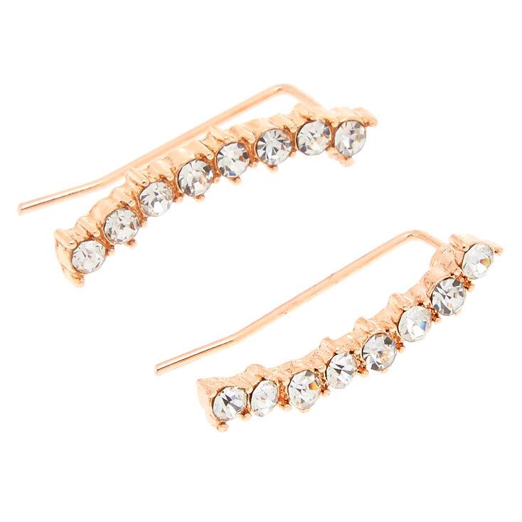 Rose Gold Tone Curved Faux Crystal Bar Ear Crawler,
