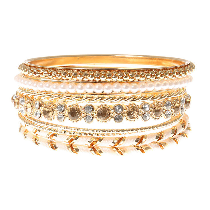 Gold, Pearl, Iridescent Crystal & Pink Thread Wrapped Bangle Bracelets Set of 8,