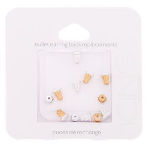 Mixed Metal Bullet Earring Back Replacements - 12 Pack,