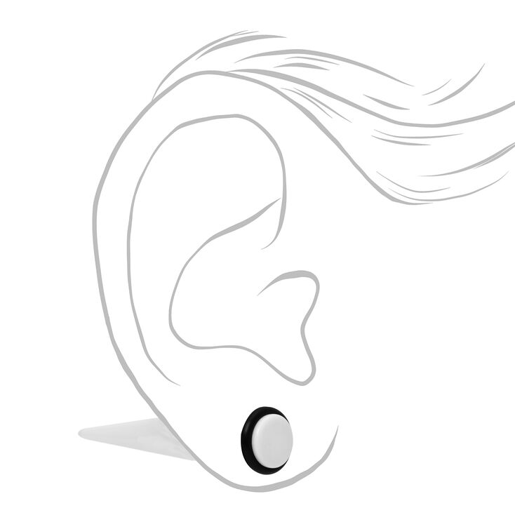 Mixed Faux Plug Stud Earrings - White, 2 Pack,