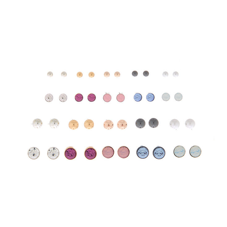 Mixed Metal Crystal & Ball Stud Earrings - 20 Pack,