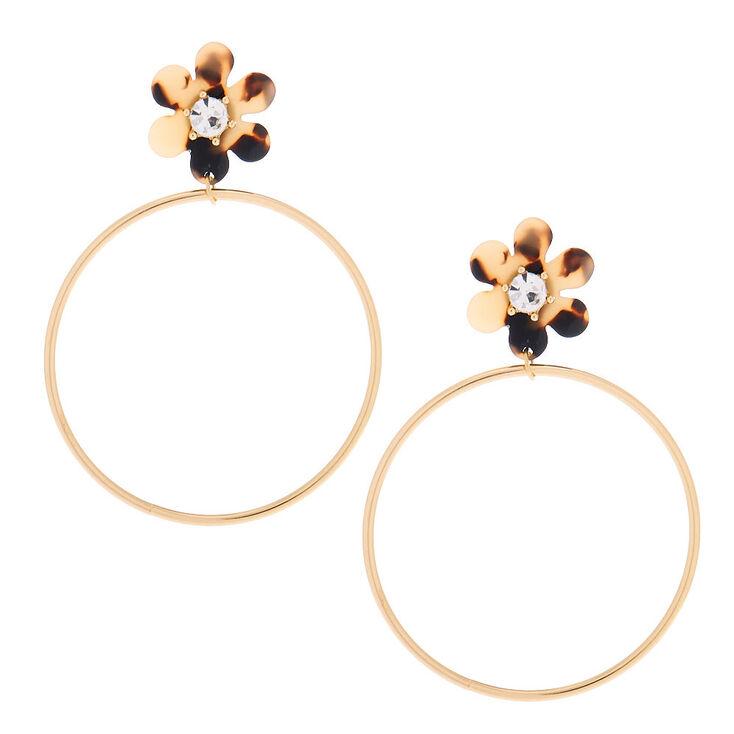 """Gold 3"""" Resin Tortoiseshell Floral Hoop Drop Earrings,"""