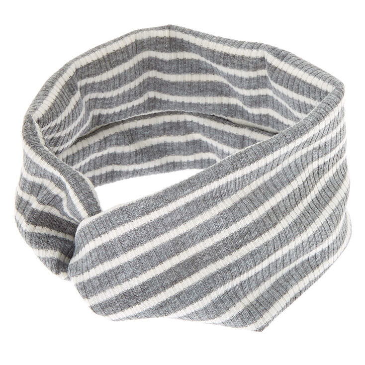 Rib Knit Stripe Headwrap - Gray,