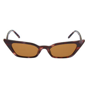 Tortoiseshell Slim Cat Eye Sunglasses,