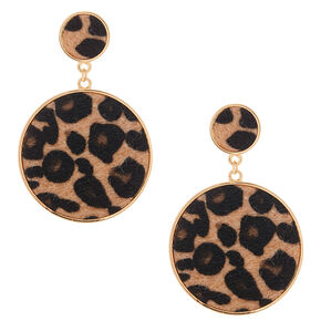 "Gold 2"" Round Leopard Drop Earrings,"