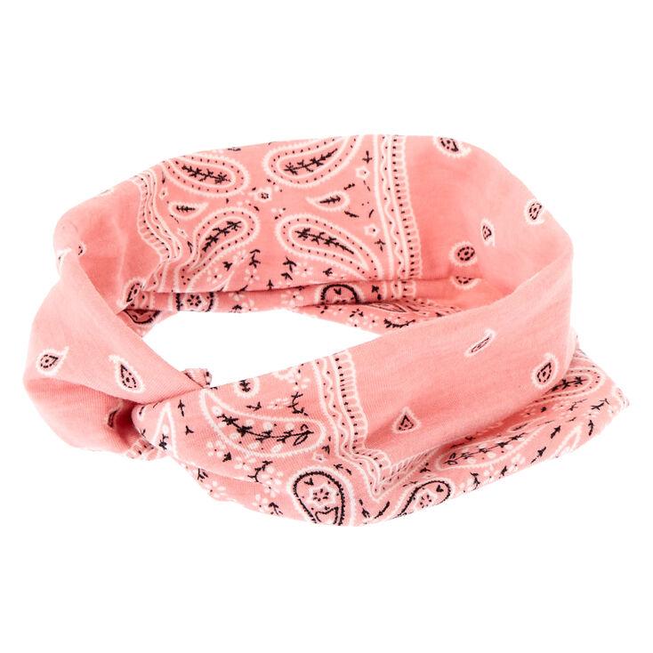 Wide Jersey Bandana Headwrap - Rose Pink,