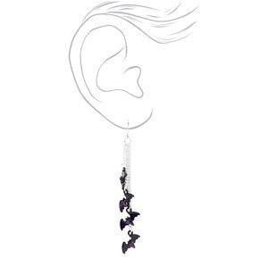 """Silver 2.5"""" Multi Bat Drop Earrings,"""