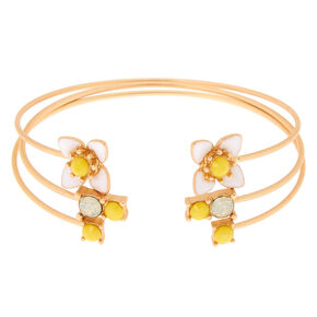 Gold Daisy Cuff Bracelets - 3 Pack,