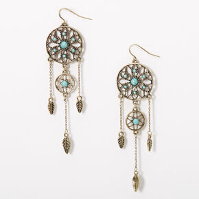 "Silver 3.5"" Burnished Dreamcatcher Drop Earrings - Turquoise,"