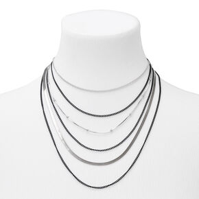 Mixed Metal Edgy Multi Strand Necklace,