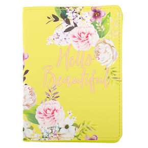Hello Beautiful Floral Passport Cover - Yellow,