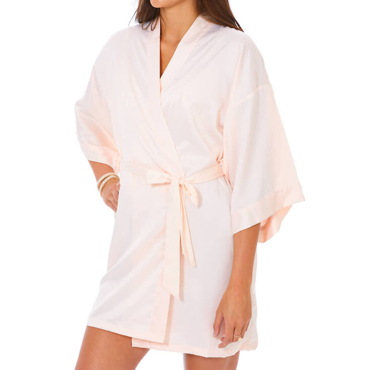 Light Pink Satin & Crystal Bride Robe - S/M,