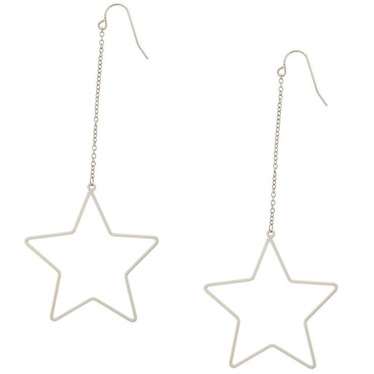White Star Drop Earrings,