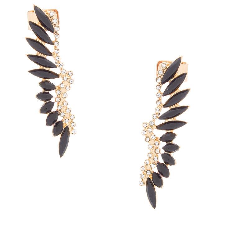 """Gold 2"""" Crystal Ear Cuffs - Black,"""