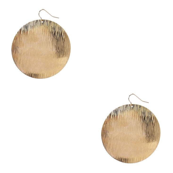Large Gold Disc Drop Earrings,