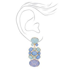 """Gold 2"""" Stone Drop Earrings - Blue,"""