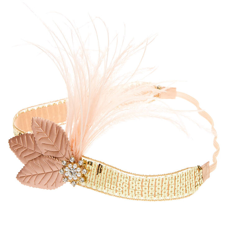 Feather Sequin Flapper Headwrap - Rose Gold,