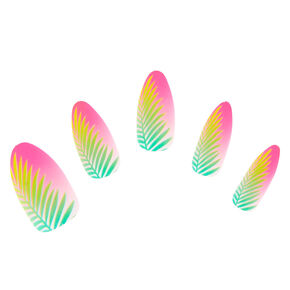 Matte Tropical Palm Leaf Faux Nail Set - Pink, 24 Pack,