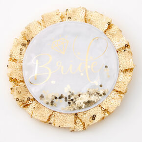 Bride Ruffled Shaker Glitter Button,