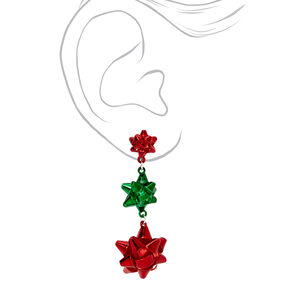 "Silver 2"" Red & Green Holiday Bow Drop Earrings,"
