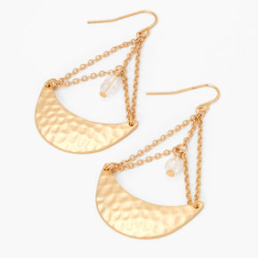 """Gold 2"""" Hammered Circle Drop Earrings,"""