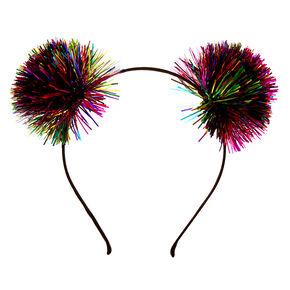 Rainbow Tinsel Pom Pom Ears Headband,