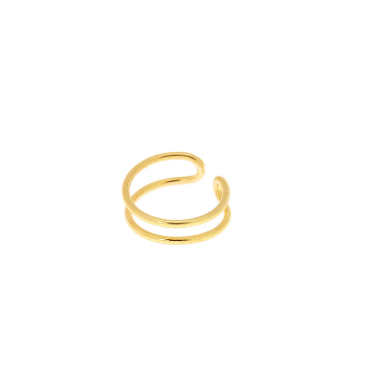 Gold Sterling Silver Double Band Faux Nose Ring,