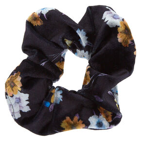 Floral Velvet Hair Scrunchie - Black,