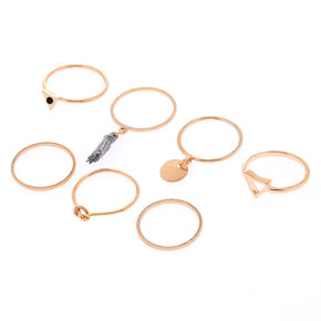 Rose Gold Tassel Rings - 7 Pack,