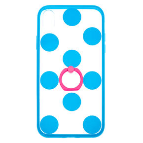Blue Polka Dot Ring Holder Phone Case - Fits iPhone XR,