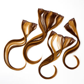 Ombre Faux Hair Clip In Extensions - Brown, 4 Pack,