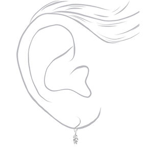 """Sterling Silver .5"""" Crystal Leaf Drop Earrings,"""