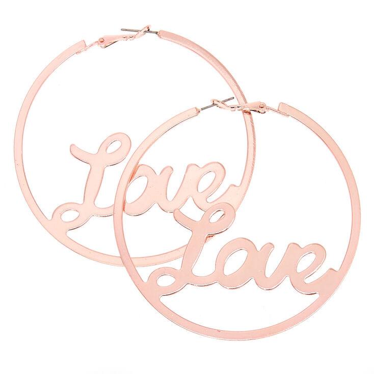 70 MM Rose-Gold Tone Love Hoop Earrings,