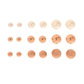 9 Pack Graduated Rose Gold-Tone Stud Earrings,
