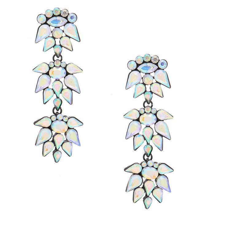 """3"""" Crystal Cluster Drop Earrings,"""