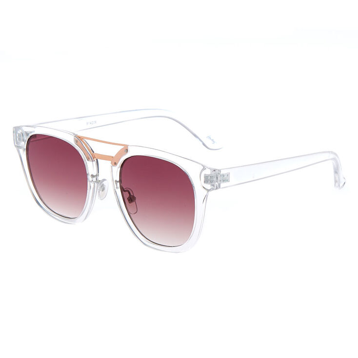 Square Brow Bar Sunglasses - Clear,