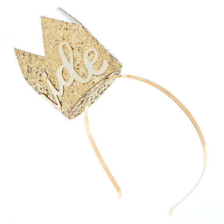 Glitter Bride Crown Headband - Gold,