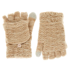 Touch Screen Fingerless Gloves with Mitten Flap - Beige,