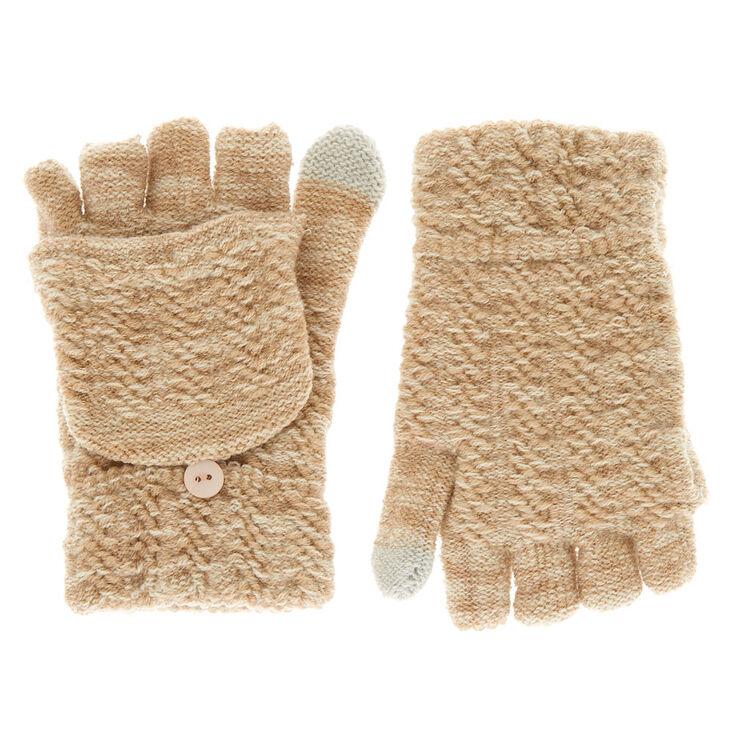 Touch Screen Fingerless Gloves with Mitten Flap - Beige,