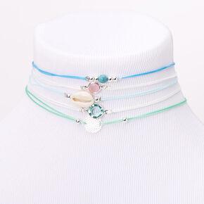 Silver Filigree Seashell Stone Choker Necklaces - Blue, 5 Pack,