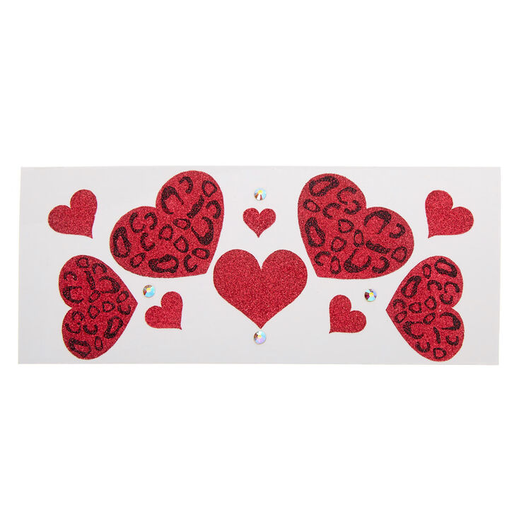 Glitter Leopard Hearts Body Stickers - Red,