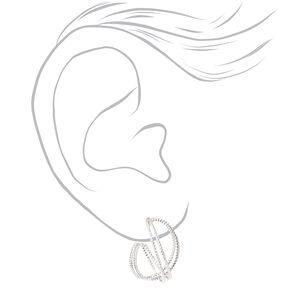 Silver 20MM Twisted Laser Cut Hoop Earrings,