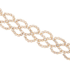 Gold Rhinestone Scallop Chain Bracelet,