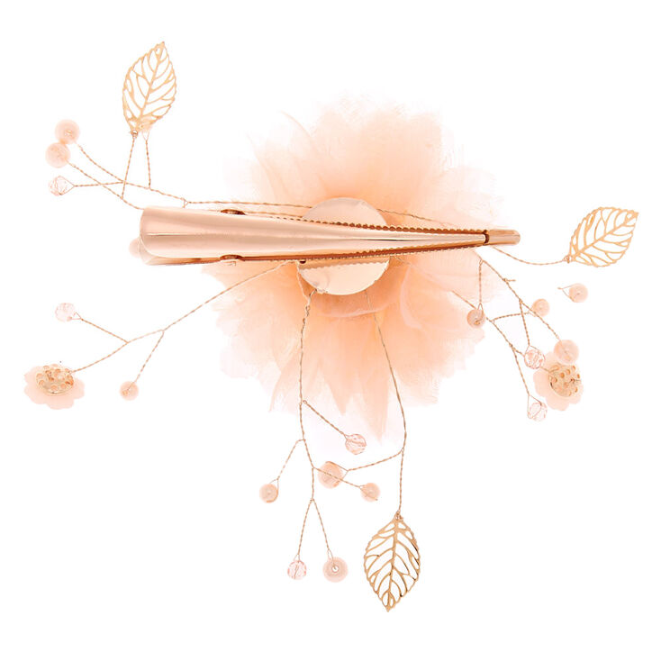 Tulle Flower Hair Clip - Blush Pink,